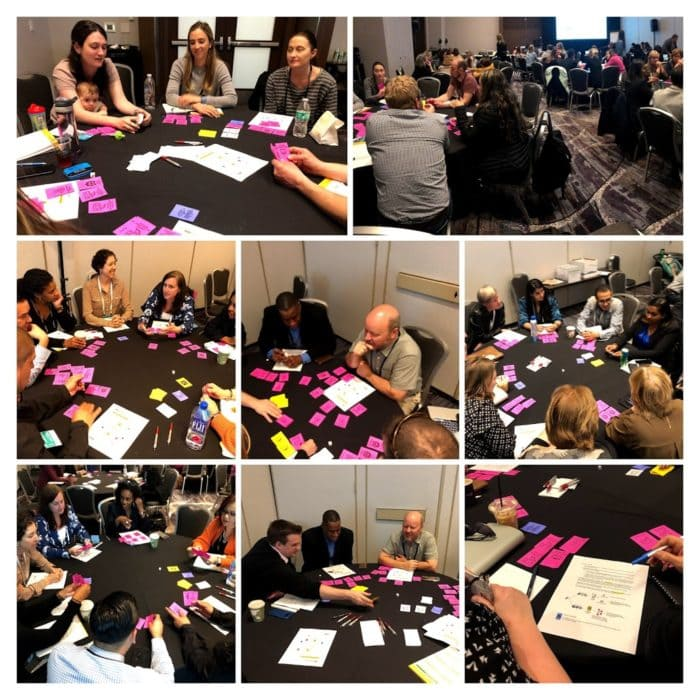 Participants playing the School Design Game: Photo collage from Carnegie Foundation Summit