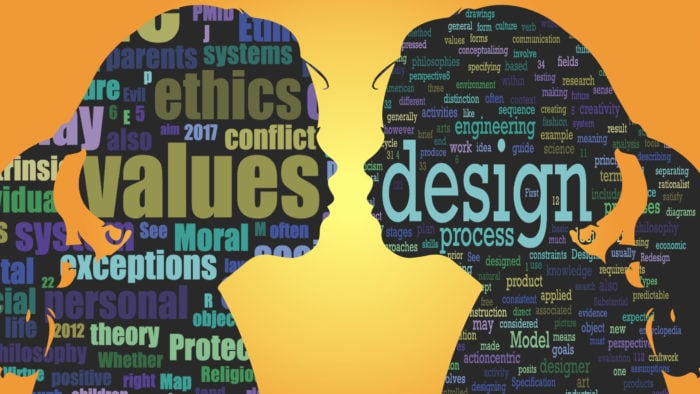 "Reflecting on Principled Innovation & Design. Word clouds created from the Wikipedia page for ""Values"" (left profile) and ""Design"" (right profile). Design by Punya Mishra"